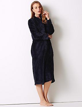 Textured Long Sleeve Dressing Gown, NAVY MIX, catlanding