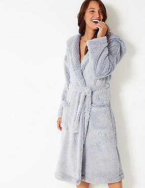 Supersoft Hooded Long Sleeve Dressing Gown, BLUE MIX, catlanding