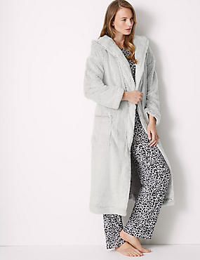 Supersoft Hooded Long Sleeve Dressing Gown, GREY MIX, catlanding