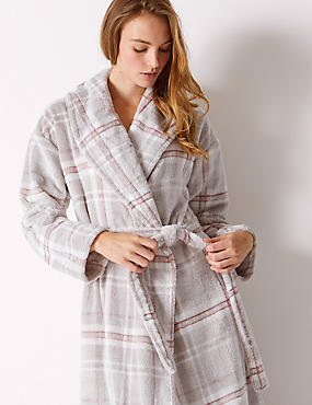 Supersoft Checked Dressing Gown with Belt , PINK MIX, catlanding