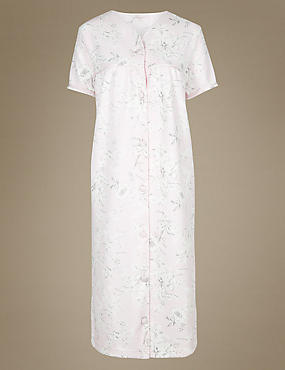 Floral Print Short Sleeve Dressing Gown