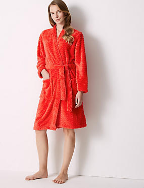 Textured Supersoft Kimono Dressing Gown, RED, catlanding