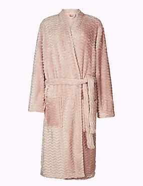 Fleece Long Sleeve Dressing Gown with Belt, SOFT PINK, catlanding