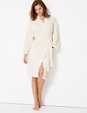 Textured Supersoft Kimono Dressing Gown, IVORY, catlanding