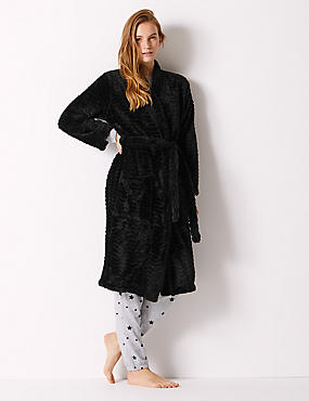 Textured Supersoft Kimono Dressing Gown, BLACK, catlanding