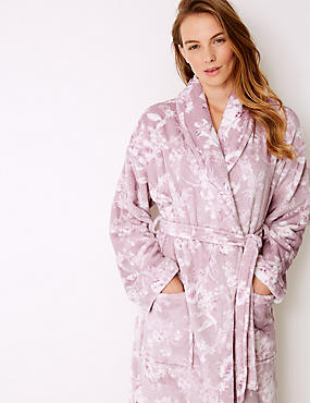 Fleece Floral Print Dressing Gown , PURPLE MIX, catlanding
