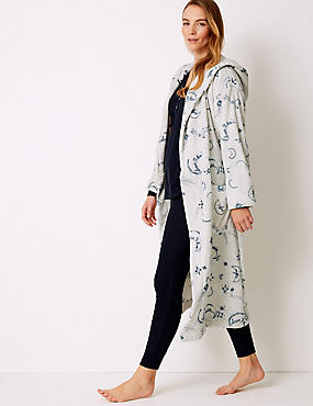 Fleece Printed Long Sleeve Dressing gown, GREY MIX, catlanding