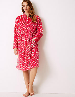 Supersoft Spotted Long Sleeve Dressing Gown , BRIGHT PINK MIX, catlanding
