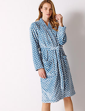 Supersoft Spotted Long Sleeve Dressing Gown , BLUE MIX, catlanding