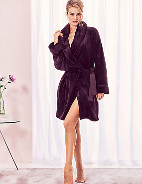 Fleece Long Sleeve Dressing Gown, DARK AUBERGINE, catlanding