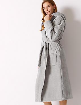 Pure Cotton Velour Dressing Gown, GREY, catlanding