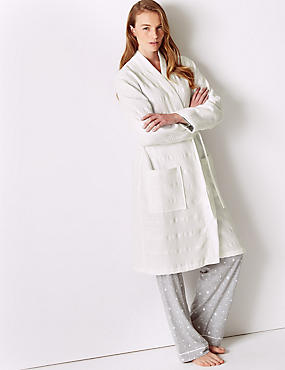 Pure Cotton Textured Waffle Dressing Gown, WHITE, catlanding