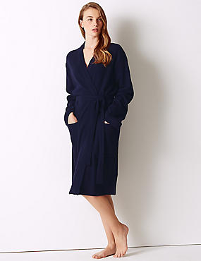 Pure Cotton Textured Dressing Gown, BLUE MIX, catlanding