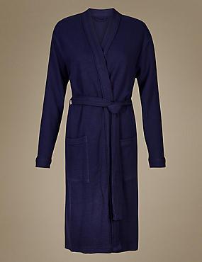 Pure Cotton Textured Dressing Gown, BLUE MIX, catlanding