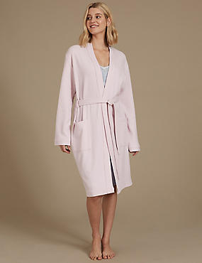 Pure Cotton Textured Dressing Gown, PALE PINK, catlanding