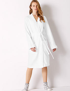 Pure Cotton Textured Dressing Gown, WHITE, catlanding