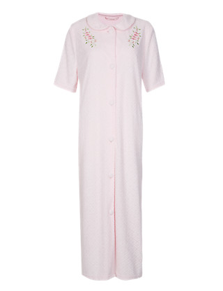 Floral Embroidered Diamond Towelling Dressing Gown Clothing