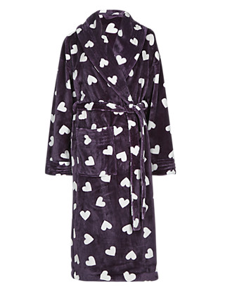 Shawl Collar Heart Print Dressing Gown Clothing