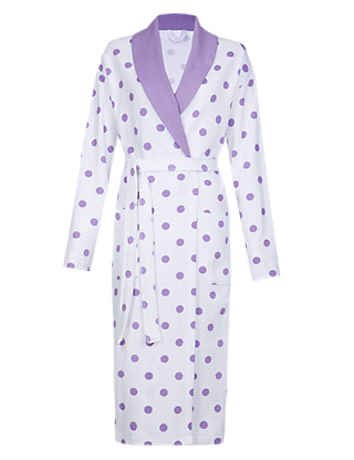 Pure Cotton Shawl Collar Waffle Dressing Gown Clothing