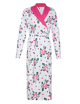 Pure Cotton Floral Dressing Gown Clothing