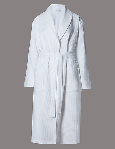Pure Cotton Luxury Waffle Dressing Gown M Amp S