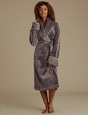 Faux Fur Trim Dressing Gown