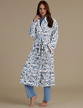 Floral Print Shimmer Dressing Gown