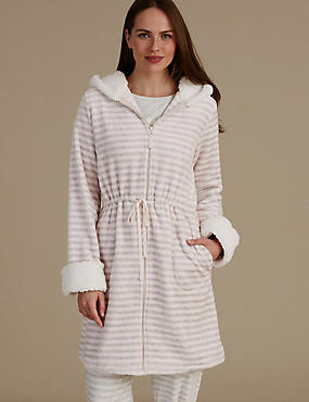 Hooded Striped Dressing Gown