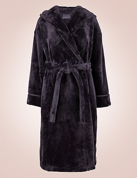 Satin Trim Hooded Dressing Gown