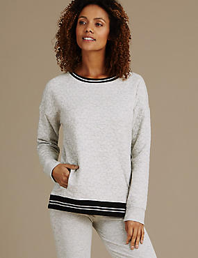 Contrasting Elastic Quilted Pyjama Top