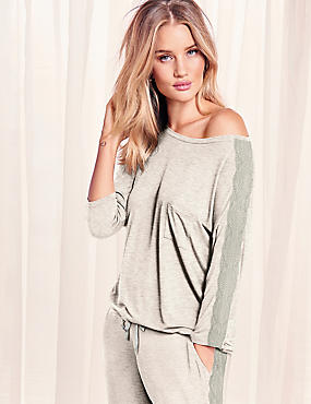 Lace Trim Long Sleeve Pyjama Top
