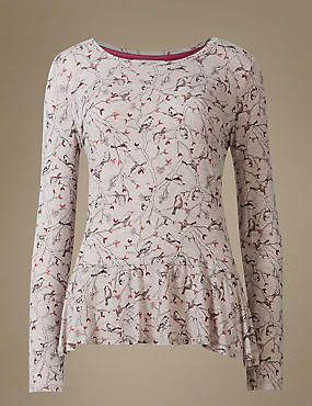 All Over Bird Print Peplum Pyjama Top