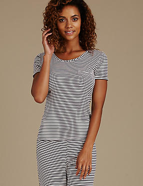 Striped Short Sleeve Pyjama Top