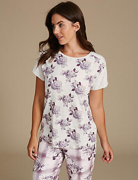 Floral Print Short Sleeve Pyjama Top