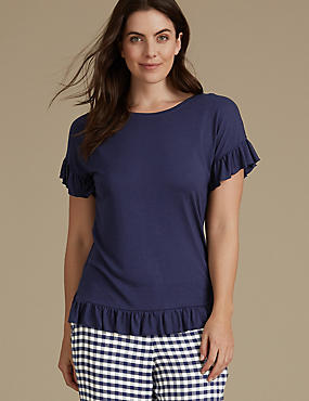 Frill Hem Short Sleeve Pyjama Top, NAVY, catlanding