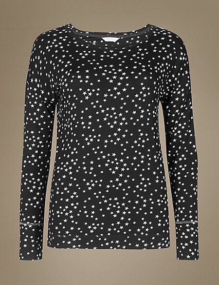 Star Print Long Sleeve Pyjama Top
