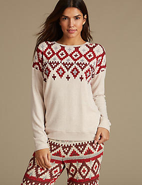 Fairisle Print Long Sleeve Pyjama Top