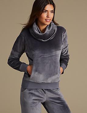 Fleece Long Sleeve Pyjama Top, GREY MIX, catlanding