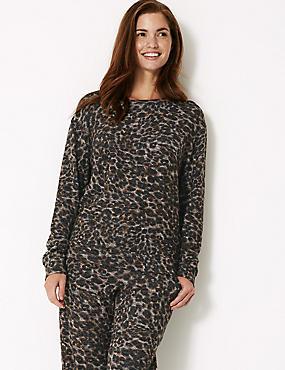 Animal Print Long Sleeve Lounge Top, NEUTRAL, catlanding