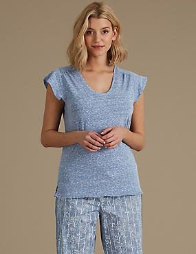 Textured Short Sleeve Pyjama Top, BLUE, catlanding