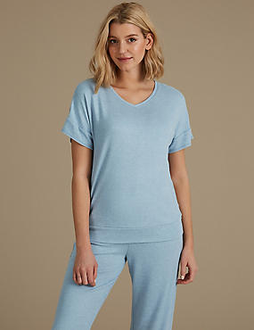 Short Sleeve Pyjama Top, BLUE, catlanding