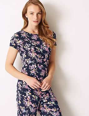 Floral Print Short Sleeve Pyjama Top , NAVY MIX, catlanding