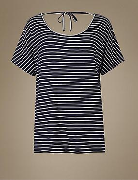Striped Short Sleeve Pyjama Top, NAVY MIX, catlanding