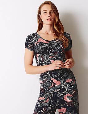 Printed Short Sleeve Pyjama Top, NAVY MIX, catlanding