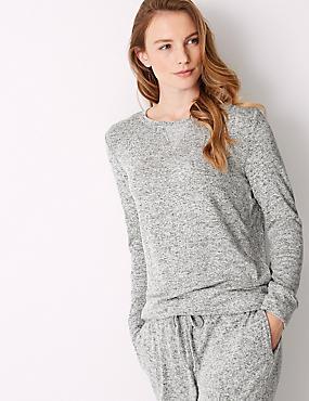 Cosy Knit Long Sleeve Pyjama Top, GREY MIX, catlanding