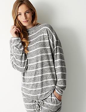 Striped Long Sleeve Pyjama Top , GREY MIX, catlanding