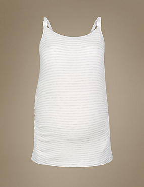Maternity Striped Camisole Pyjama Top , GREY MIX, catlanding