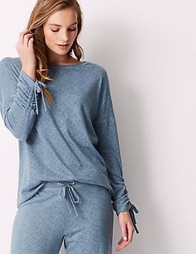 Textured Long Sleeve Pyjama Top, PALE BLUE MIX, catlanding