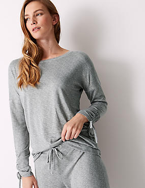 Textured Long Sleeve Pyjama Top, GREY MIX, catlanding