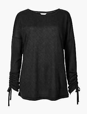 Textured Long Sleeve Pyjama Top, BLACK MIX, catlanding